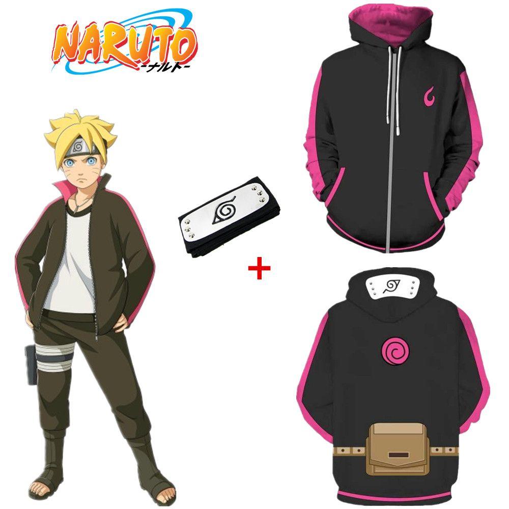 Tamaño asiático Japón Anime Naruto Uzumaki Boruto Negro Casual 3D Cosplay Traje Unisex de manga larga Chaqueta Sudaderas con capucha Diadema