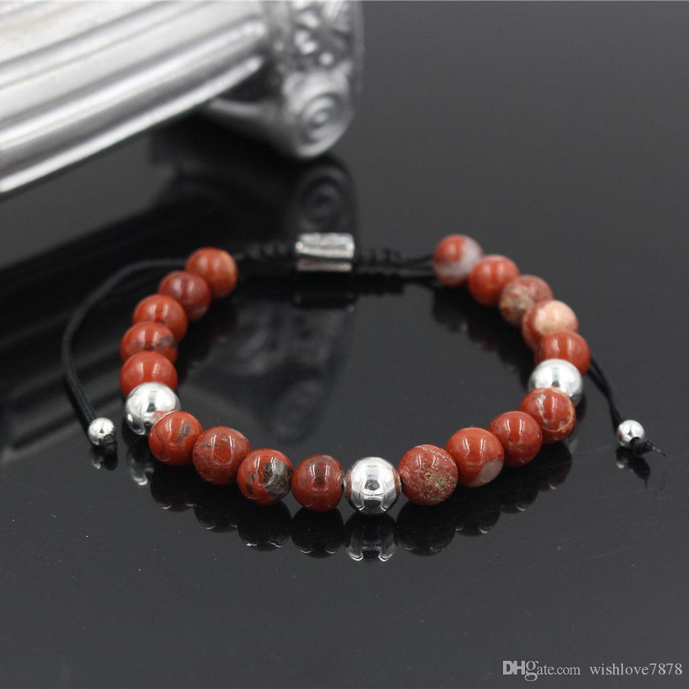 Homens Mulheres Natural Red Pedra pulseira contas, encanto de prata quadrado do Weave trança Homens Mulheres Macrame Bracelet ajustável