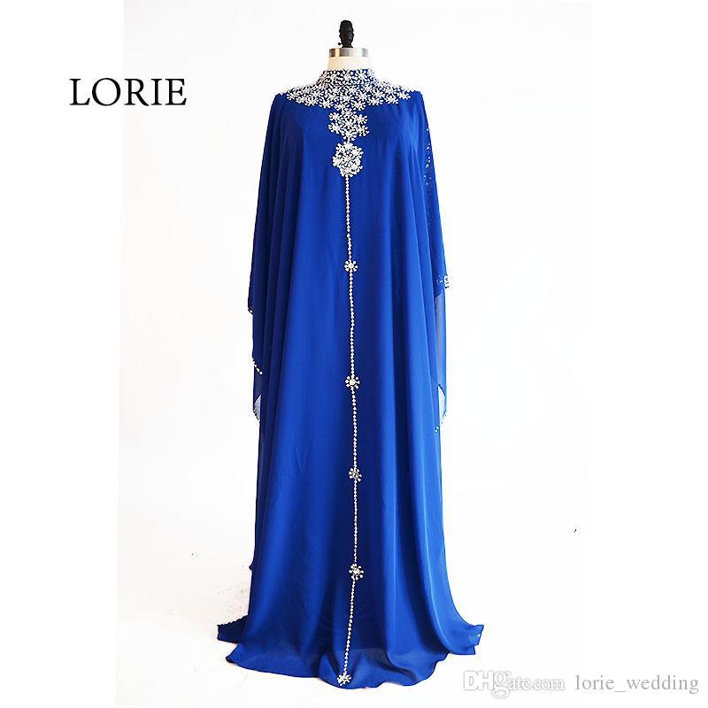 LORIE Vestido de Noite Muçulmano Pescoço Frisada com Strass A Linha de Chiffon Azul Royal Vestido de Baile para a Festa vestido de festa