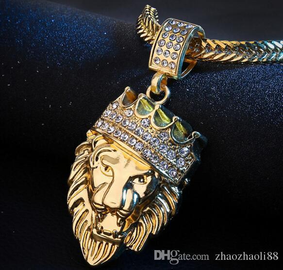 14k ouro preenchimento de ouro cabeça de leão coroa cadeia colar de pingente de rei franco cadeia de hip hop jóias
