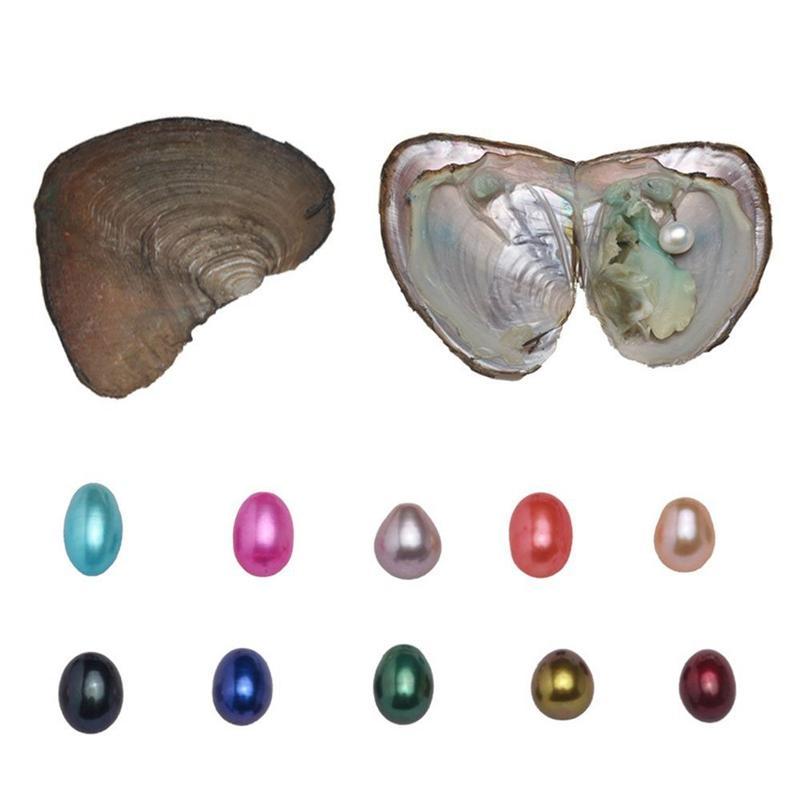 Натуральный пресноводный жемчуг устрицы комплект с 2 шт. большой овальный жемчуг внутри мода Жемчужина подарки на День рождения 10 цветов (6-7 мм)