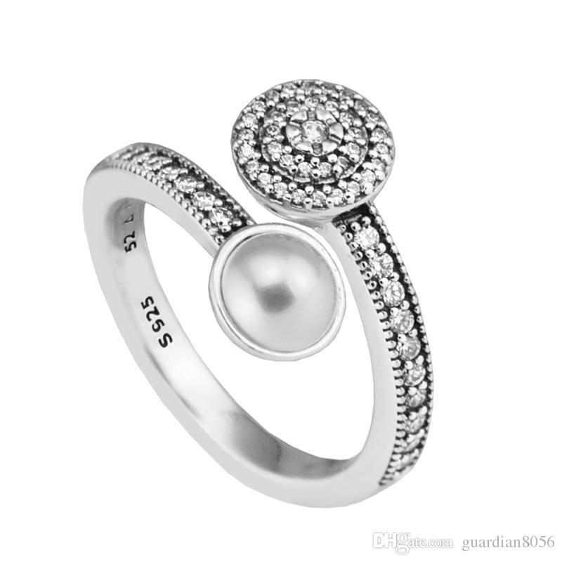 متوافق مع باندورا مجوهرات توهج مضيئة ، خواتم الزفاف الأبيض خاتم فضة كريستال الأصلي 925 فضة مجوهرات diy بالجملة