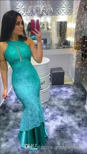 Turquoise Lace Mermaid Evening Dresses Long Cheap High Neck Sexy open neck floor length trumpet formal Prom Dresses For Birthday 2019