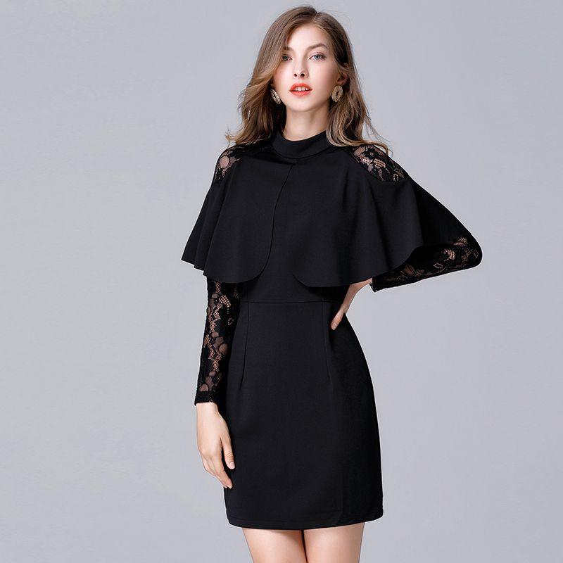 2018 dantel patchwork kadınlar siyah kollu moda elbiseler büyük beden pelerin tasarımı parti elbiseler pelerin / kırmızı renk