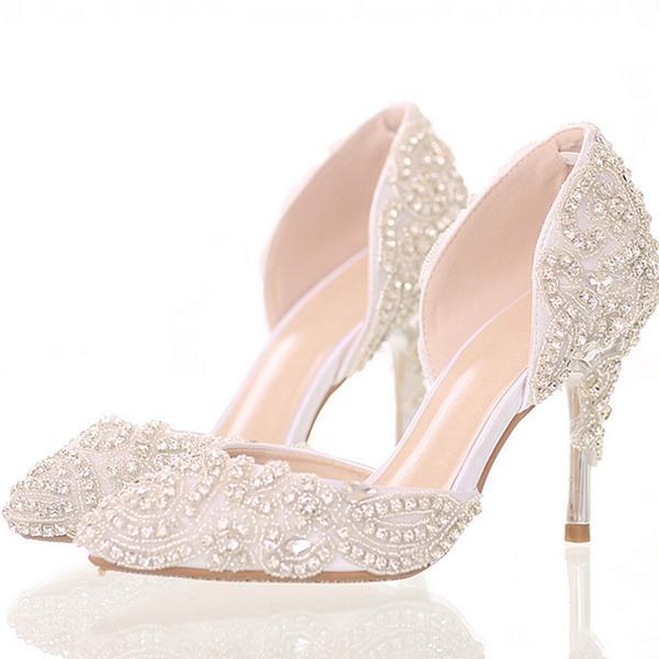 Блеск белый кристалл свадебное платье сандалии середины каблуки Пуэнт танец Toe обувь для женщин
