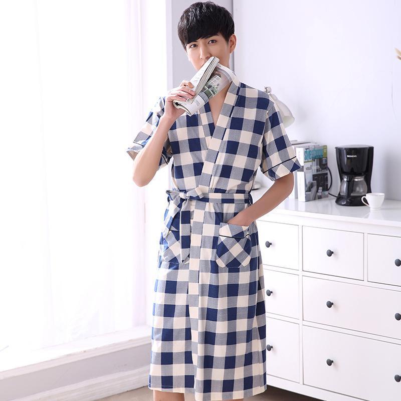 Pijama de verano de manga corta de algodón de manga corta de los hombres