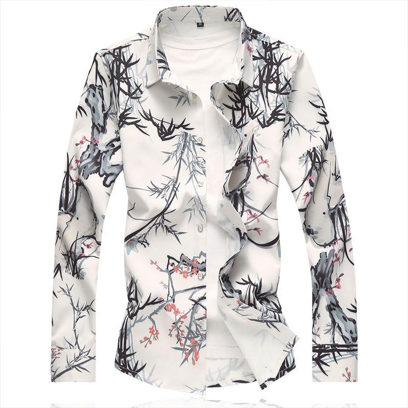 Fashion Bamboo Print Shirt Men 2018 Autumn New Arrival Slim Fit Long Sleeve Shirt Mens Clothing Mens Casual Flower Shirts M-7XL