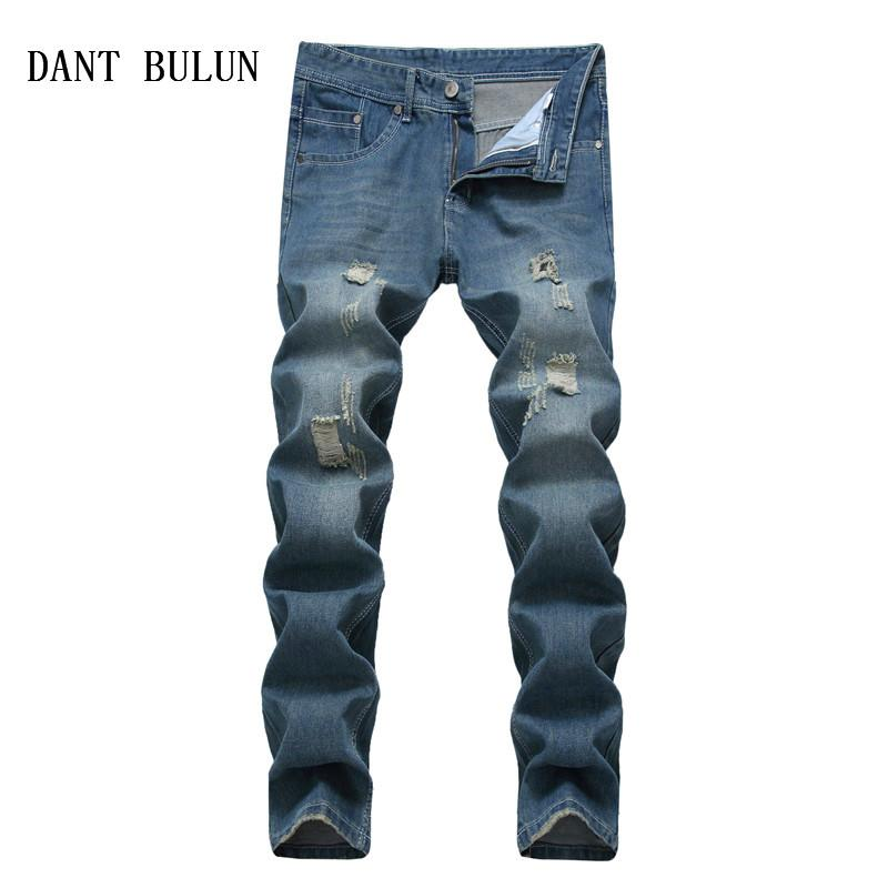 High Quality Men Jeans Plus Size 42 Straight Skinny Blue Vintage Washed Hole Ripped Biker Men Denim Pants Trousers
