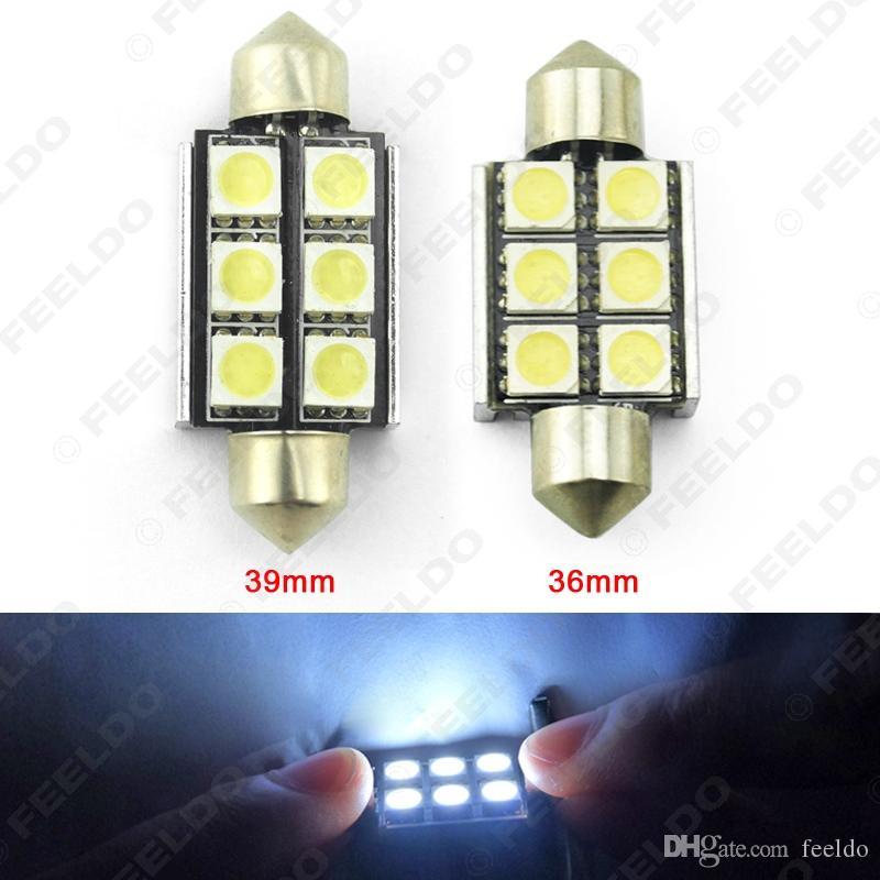 Feeldo 10PCS Blanco 36 mm 39mm Sin error CANBUS 6-LED 5050SMD Coche Lectura Festoon Doma LED bombillas # 2626