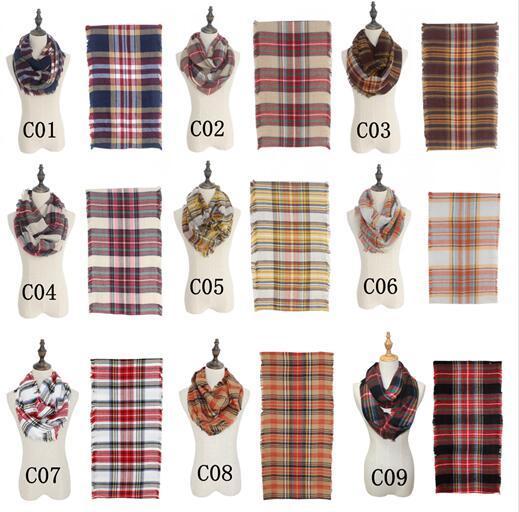 18 Cores Mantas Lenços Grade Loop Cachecóis Cobertores Mulheres Tartan Oversized Xaile Lattice Wraps Franjas Caxemira Pashmina cachecóis GGA1161