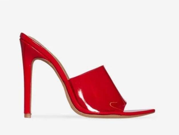 2018 novas mulheres PVC sapatos de festa de salto alto verão Perspex Peep Toe sexy sandálias de slides de salto alto sandálias de couro