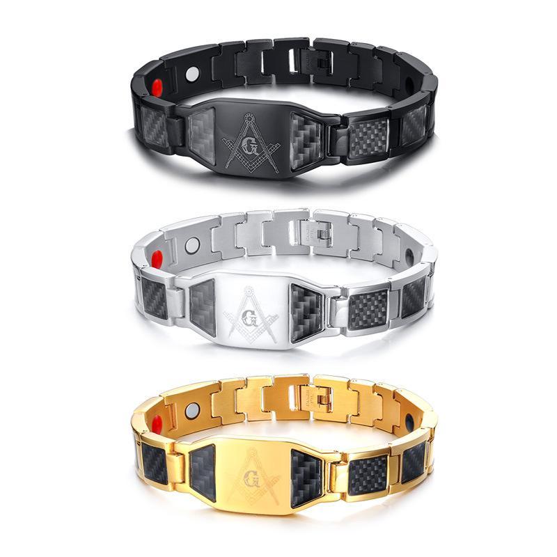 12 * 215 mm titanium maçonaria de aço maçónico ímã germânio holograma saúde pulseiras para homens casual na moda jóias