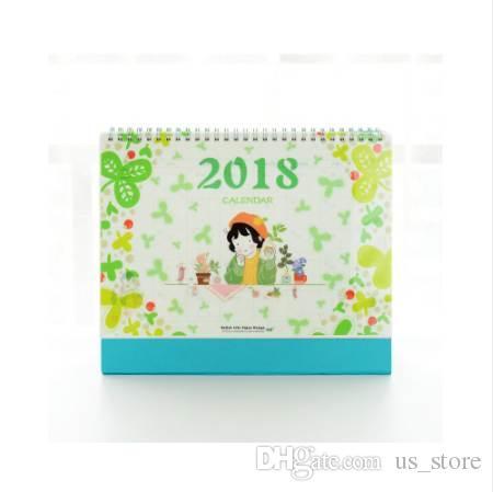2018 Diy Print Flower girl bureau calendrier bureau à faire la liste planificateur quotidien livre bureau fournitures de bureau école permanente coréen