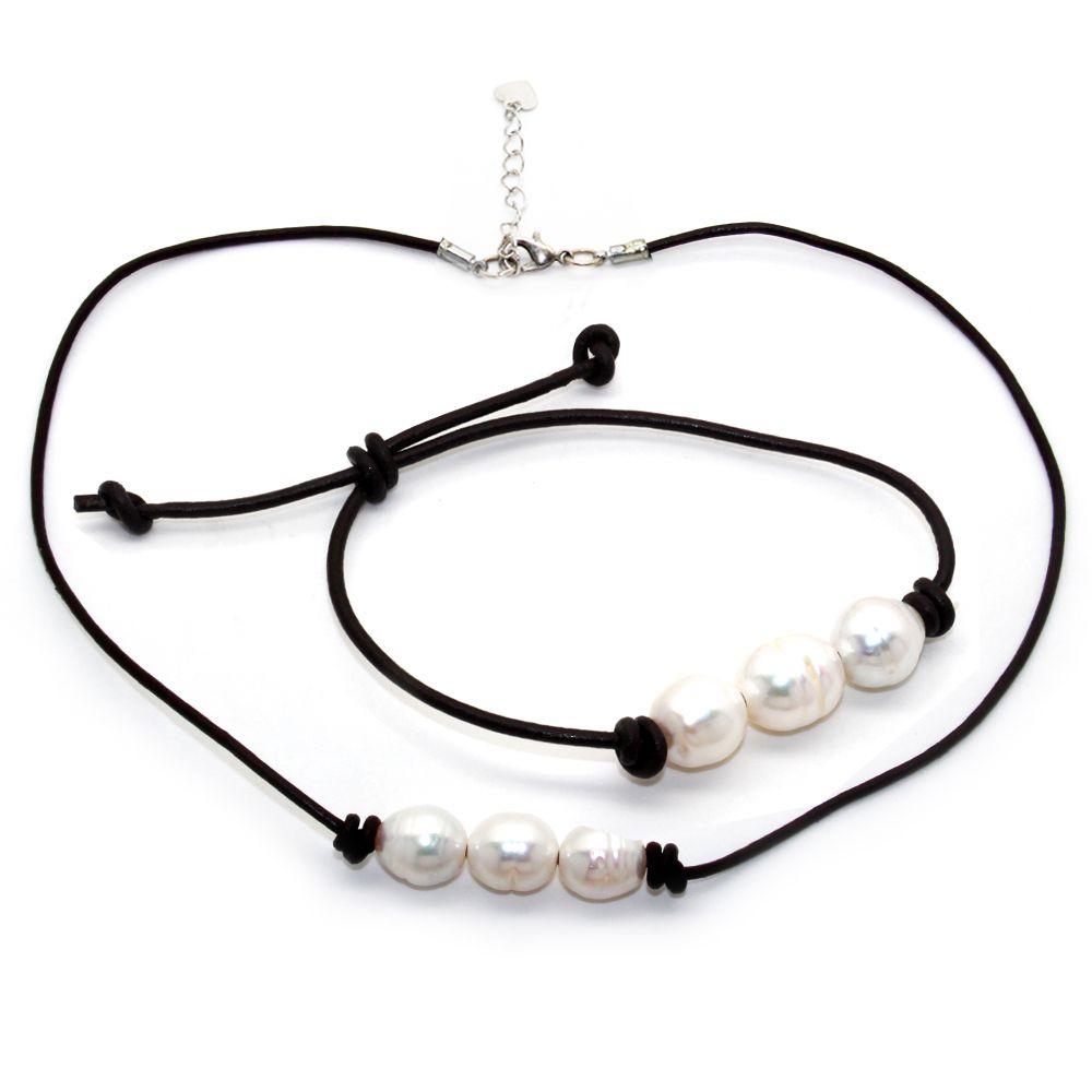 Moda Najnowsza Design Słodkowodne Pearl Zestaw Biżuterii Naturalna Świeża Woda White Pearl Leather Lina Naszyjnik i Pearl Bransoletka