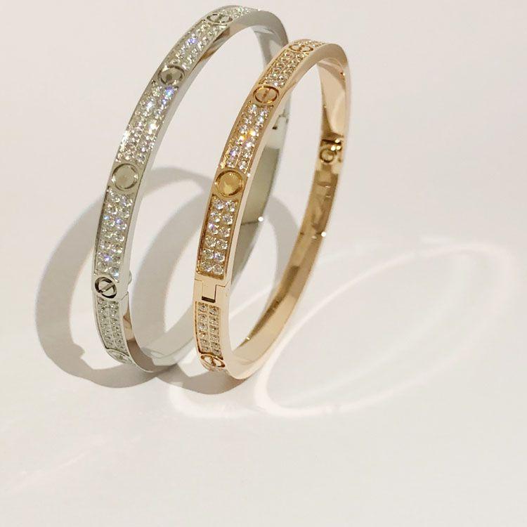 / Gümüş / Pembe Altın Renk Kadınlar Kadın İki Satır CZ Taş Bangles için Moda Paslanmaz Çelik Açık Cuff Bilezik