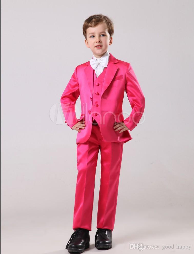 High Quality Two Button Red Boy Formal Wear Handsome Boy Kid Attire Wedding Wear Birthday Party Prom Suit(jacket+pants+tie+vest ) 35