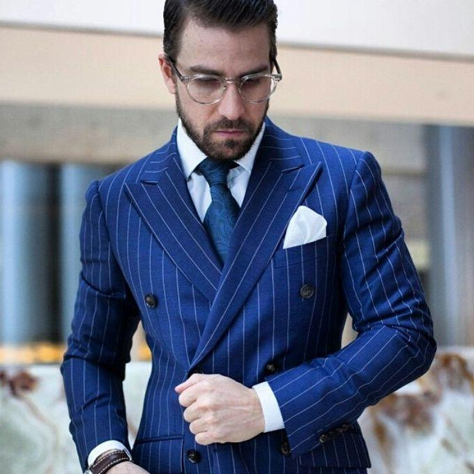 2018 Double breasted Royal blue stripe men suits Elegant suit wide peaked lapel Handsome tuxedo Slim Fit blazer Jacket 2 Pieces