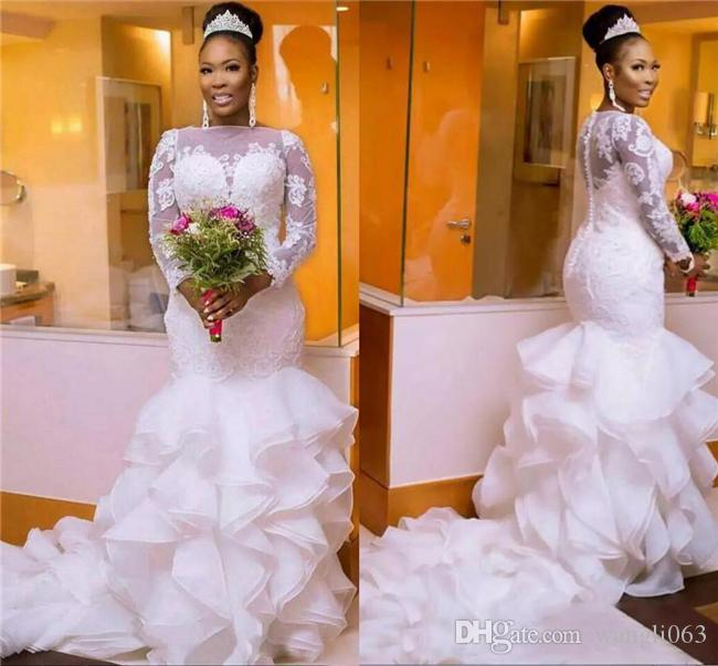Plus Size Mermaid Wedding Dresses with Long Sleeve Sheer Neck Beaded Chic Layer Ruffles South African Nigerian Bridal Gowns