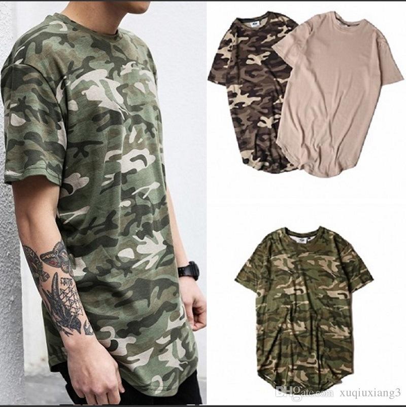 2019 Été Solide Ourlet Incurvé Camo T-shirt Hommes Longline Étendue Camouflage Hip Hop T-shirts Urbain Kpop T-shirts Vêtements Pour Hommes