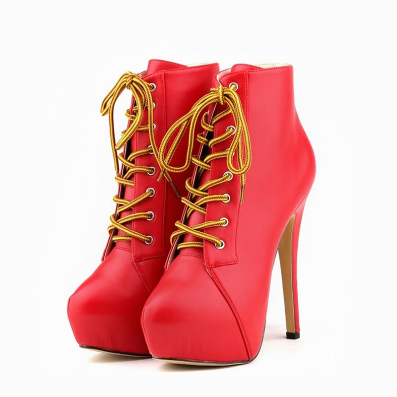 47ae80a0f3657 Ladies Ankle Boots Matt Leather High Heels Lace Up Women Boot Black  Platform Stiletto Autumn Winter Party Shoes Red Pumps for Womens 819-1MA