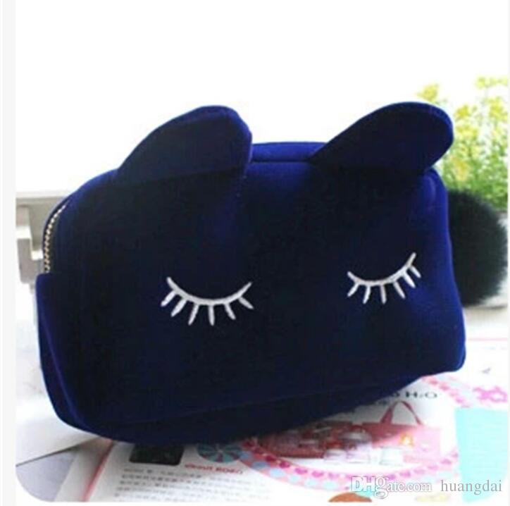 HOT Makeup Cosmetic Bags Cases Portable Cartoon Cat Coin Storage Case Travel Makeup Flannel Pouch Cosmetic Bag Free Shipping
