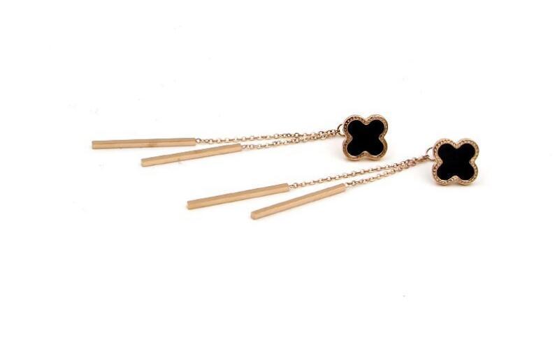 Korean version of the black clover butterfly hanging both sides tassel earrings women fashion titanium steel long earrings