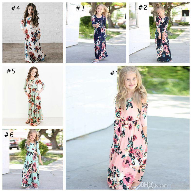 Summer Girls Long Sleeve Boho Floral Maxi Dress Vocation Party Princess Dresses