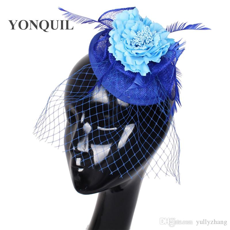 Fancy flowers sinamay hats veils hair fascinators bridal wedding accessories cocktail hats party hats bridal fascinators 6Pcs/lot OF1511