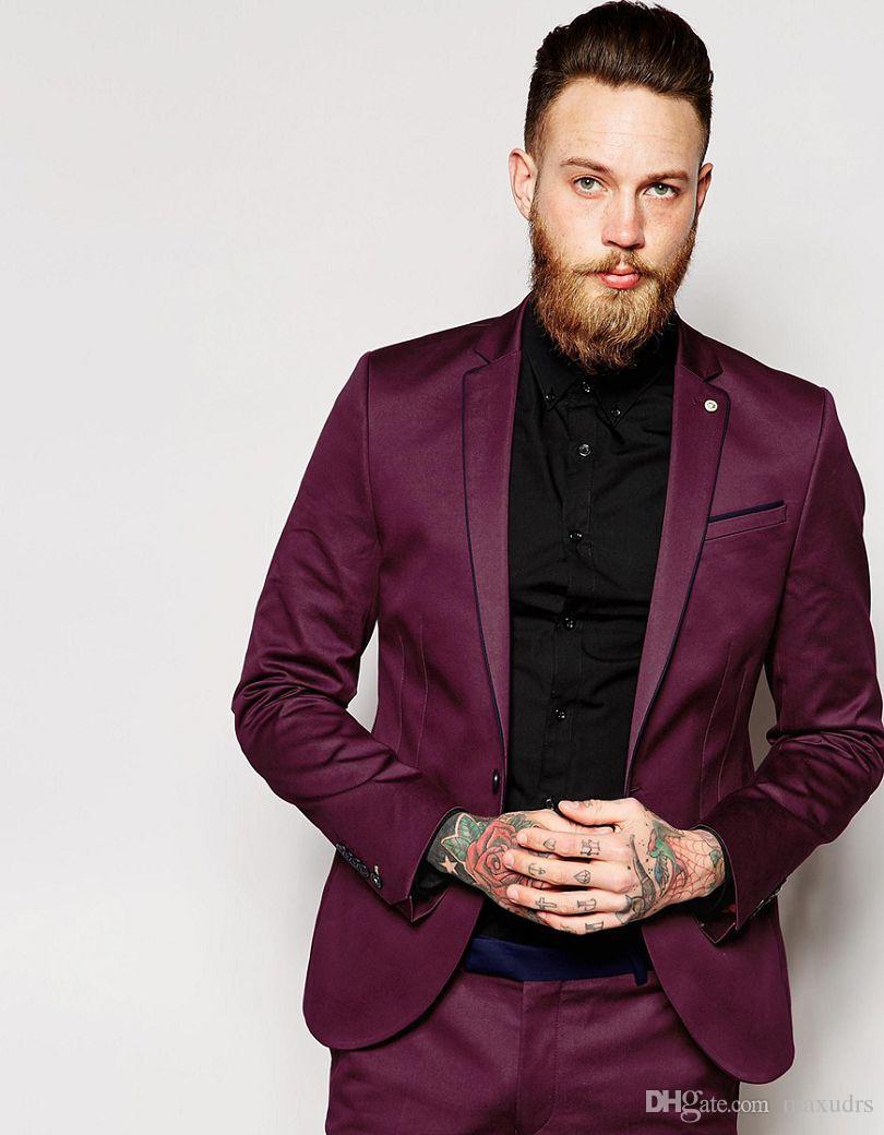 2019 Veste De Survêtement Avec Passepoil Contrast Et En Super Skinny Fit Sur Mesure Costume De Groomsman Costume De Mariage (veste + pantalon)