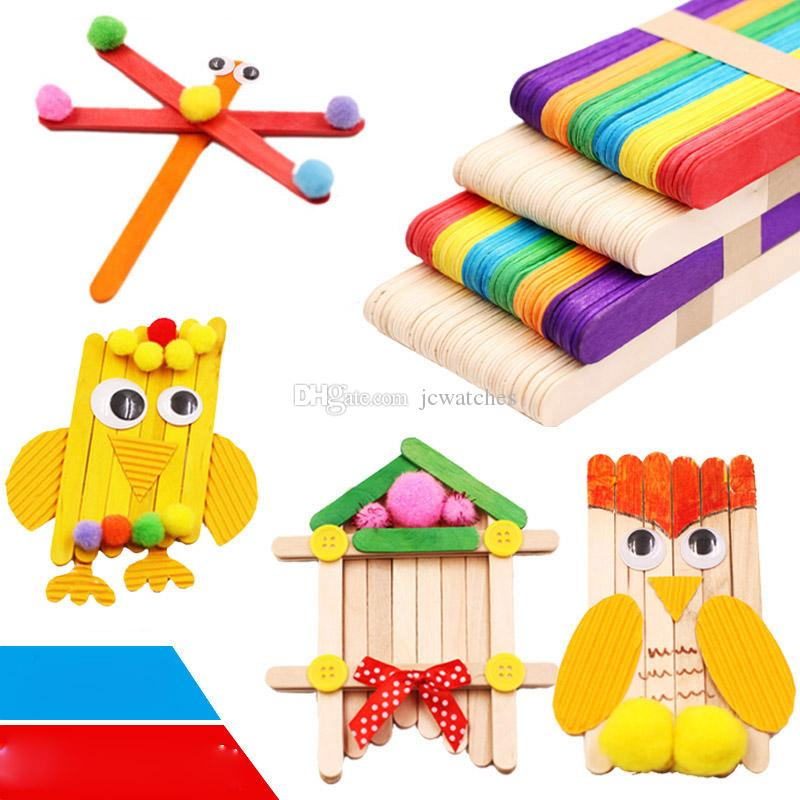 2019 Colored Wooden Popsicle Sticks Natural Wood Ice Cream Sticks Kids Diy Hand Crafts Art Ice Cream Lolly Cake Tools From Jcwatches 4 95