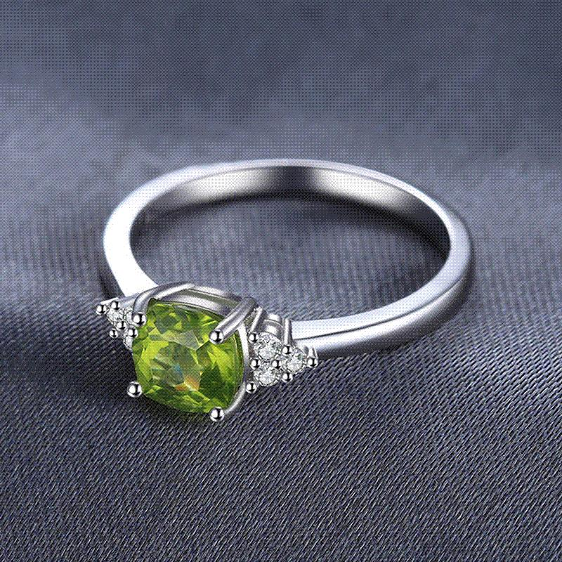 JewelryPalace 1.2ct Cushion Cut Genuine Peridot Ring 925 Sterling Silver