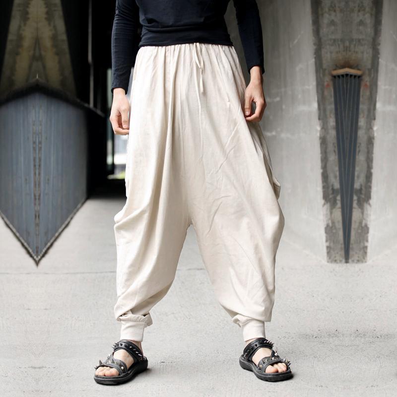 Men Summer Harem Hakama Linen Cotton Japanese Samurai Boho Pants Shorts Trousers