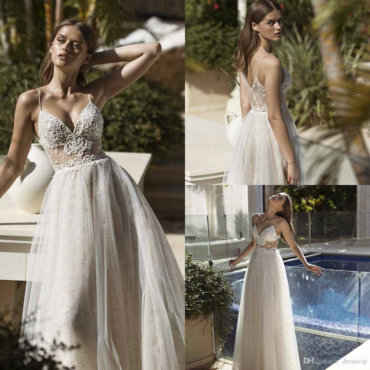 2019 Nurit Hen Beach Wedding Dresses Embroidery Spaghetti Illusion Sexy Boho Wedding Gowns Sweep Train Pearls Backless Lace Bride Dress