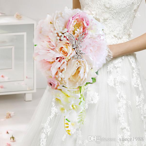 Bouquet A Goccia Sposa.Acquista Bouquet Di Goccia Dacqua Della Sposa Di Peonia Rosa