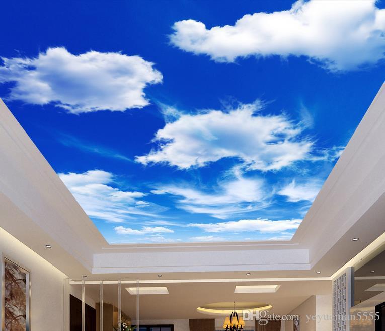 Özel dekorasyon duvar 3d tavan duvar 3d duvar kağıdı mavi gökyüzü ve beyaz bulutlar oturma odası yatak odası 3d duvar kağıdı tavan japon wallpape