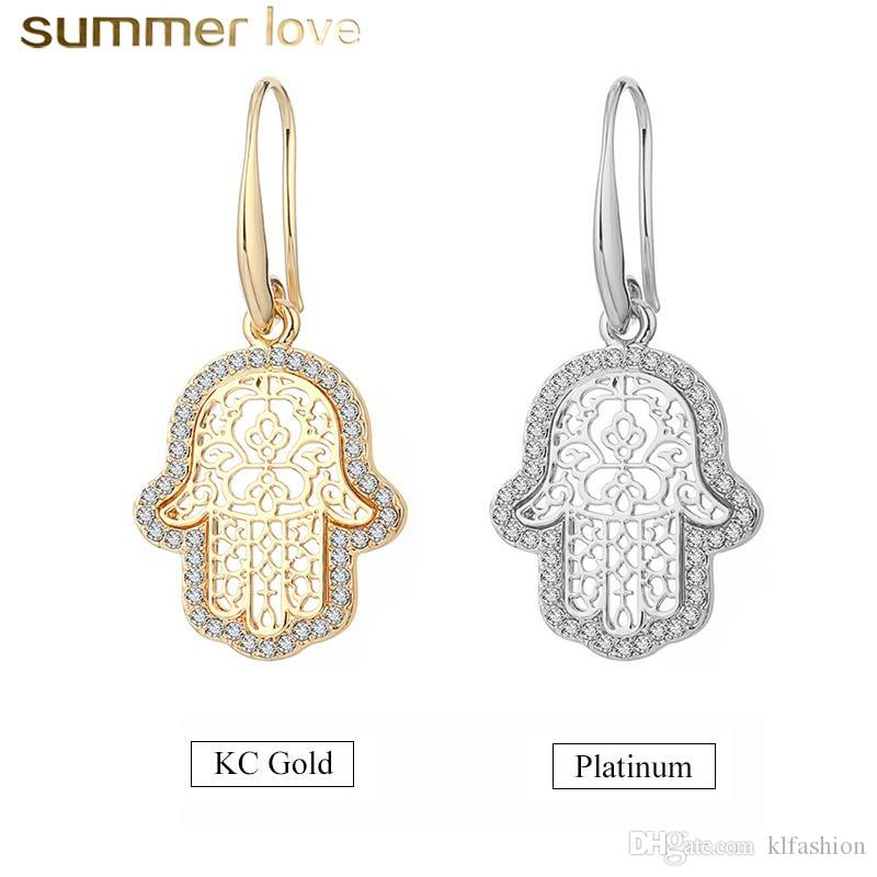 New Arrival Punk Style Gold Palting Crystal Copper Drop Earring For Women Hamsa Hand Fatima Palm Fashion Dangle Earring Unique Jewelry Gift