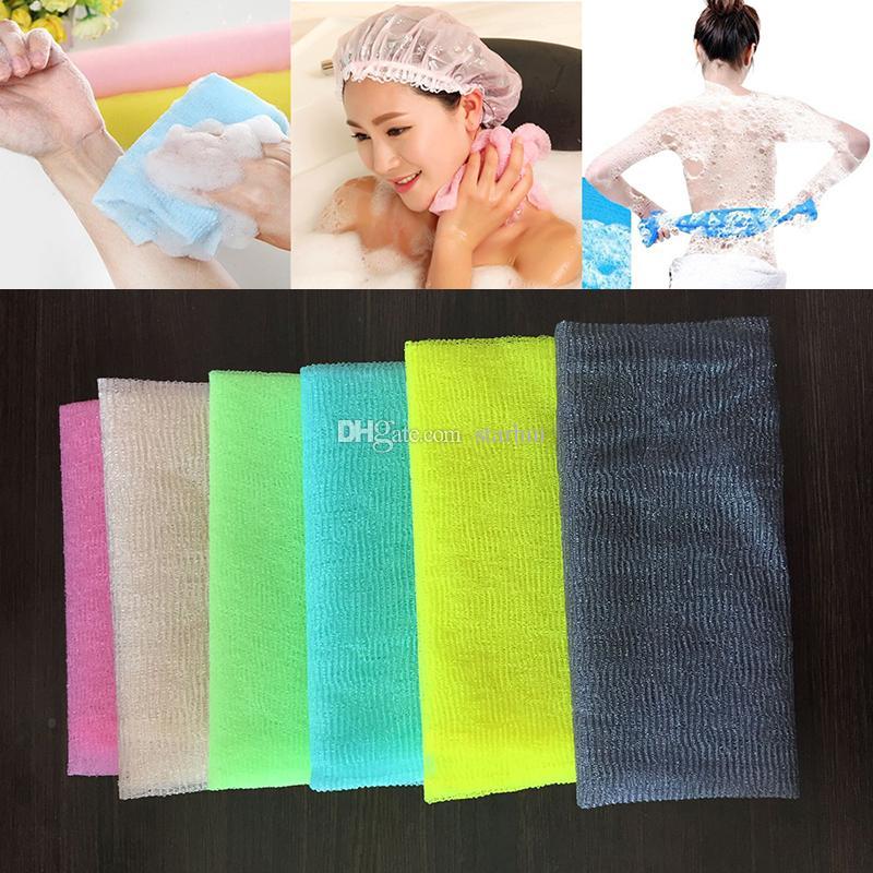 30 * 90 cm Salux Nylon Japanische Peeling Schönheit Haut Bad Dusche Waschlappen Handtuch Zurück Peeling Bad Pinsel Multi Farben WX9-440