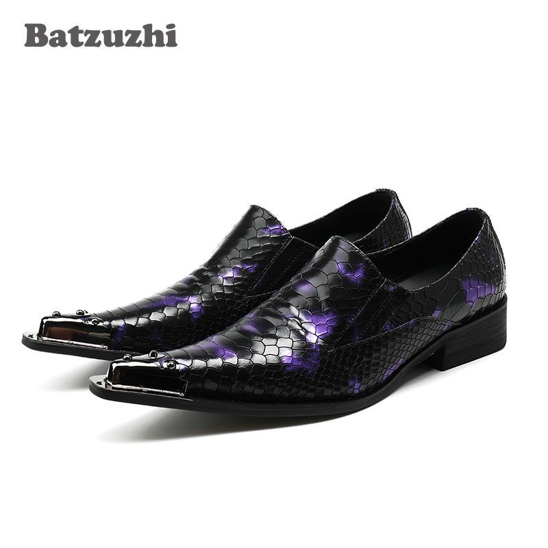 Nuovi uomini in vera pelle scarpe a punta slittamento su punta in metallo uomini scarpe da sera da sera partito Zapatos Hombre Plus Size US12 Siz 46