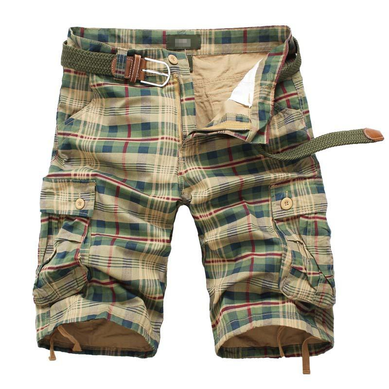 Summer Knee Length Mens Casual Plaid Shorts Tooling Straight Male Shorts Cargo Short Multi-pocket Casual Beach Pants