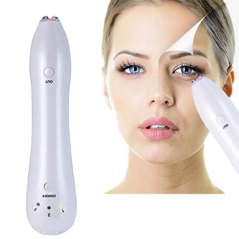 Atacado de Freqüência de Rádio Levantamento Facial Vibrador Recarregável Massagem Nos Olhos Anti-envelhecimento Rugas Círculo Escuro Removedor de Rosto Máquina de Beleza