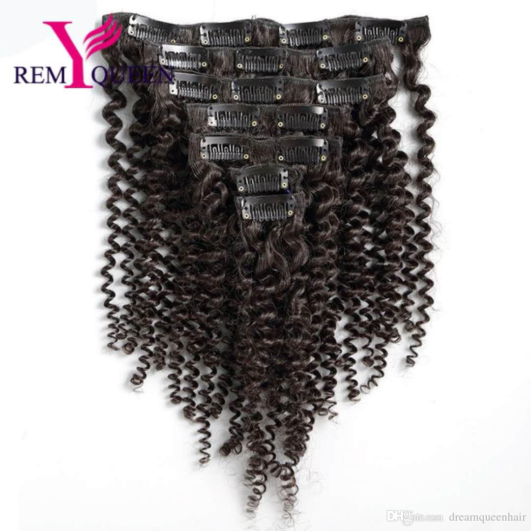 Dream Remy Queen 8A Kinky Curly Weave Remy Hair Clip In Human Hair Extensions Natural Color Full Head 8Pcs/Set