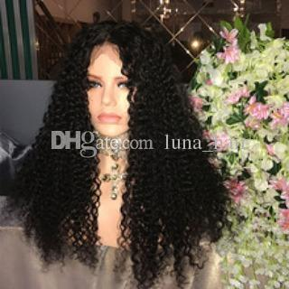 Fábrica sin procesar suave puro cabello humano virgen color natural rizado rizado largo lleno de encaje peluca superior para la venta