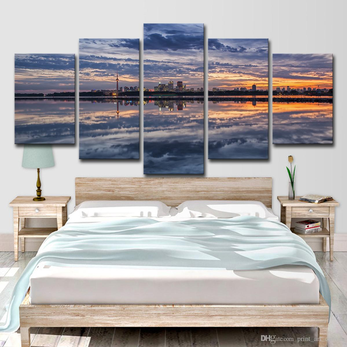 Canvas HD Prints Pictures Living Room Decor Posters 5 Pieces Sunset Glow Seaside City Clouds Landscape Paintings Wall Art
