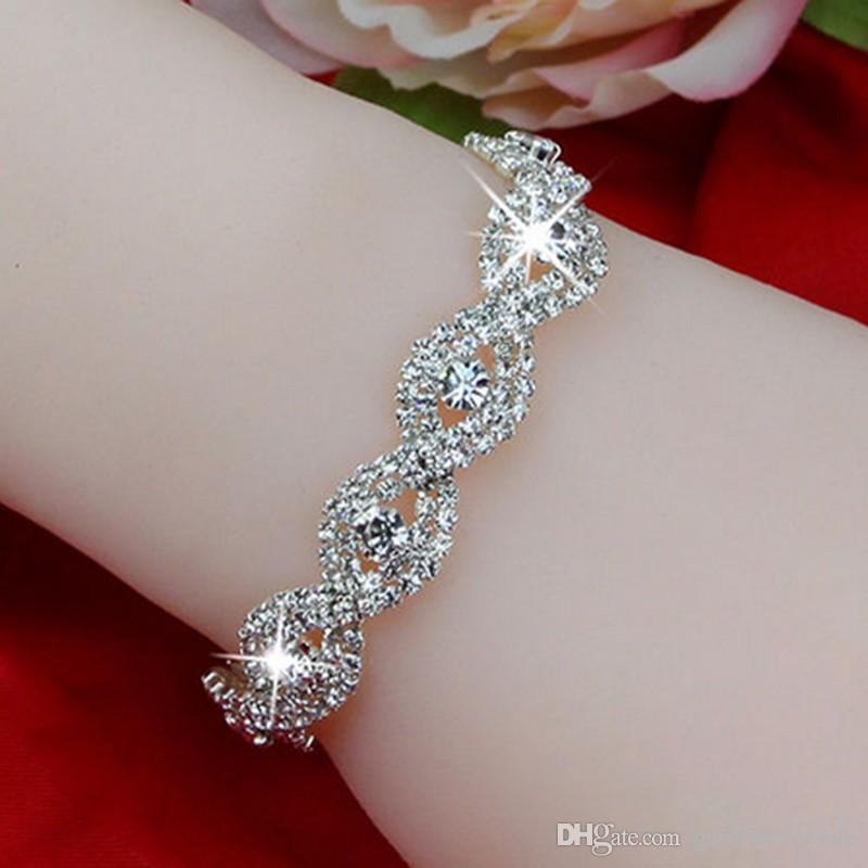 Monili di lusso del braccialetto del braccialetto di cristallo del Rhinestone d'argento di lusso per il regalo della ragazza delle donne