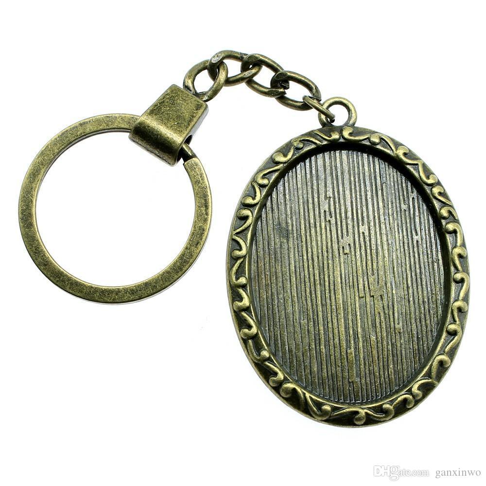 6 조각 키 체인 여성 열쇠 고리 커플 키 체인 키 레트로 싱글 사이드 내부 크기 30x40mm 타원형 카보 숑 카메오 자료 트레이 베젤 빈