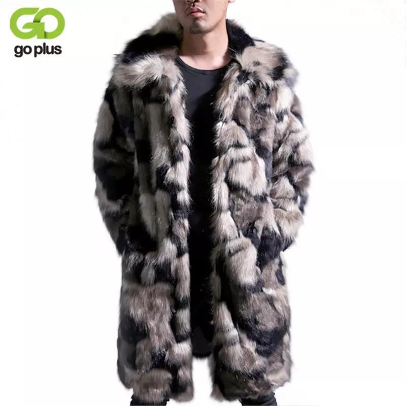 الجملة-goplus ذكر الشتاء الخريف تقليد المنك معطف كبير الحجم رفض طوق رجل فو الفراء معاطف مزيج اللون رجل الفراء معاطف الملابس