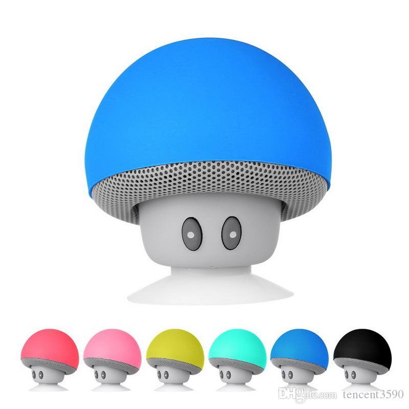 creativity Portable mini car speaker Sucker cartoon Mushroom Wireless bluetooth speaker Handsfree Subwoofer for iphone7 8 X XS max Xr
