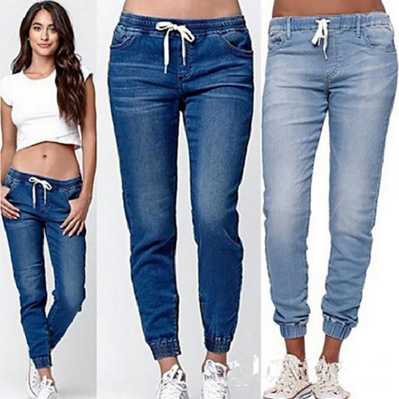 K-Pants Jeans Woman Plus Size High Waist Jeans Female Pencil Pants Lady Female Long Farkut Solid Blue Softener