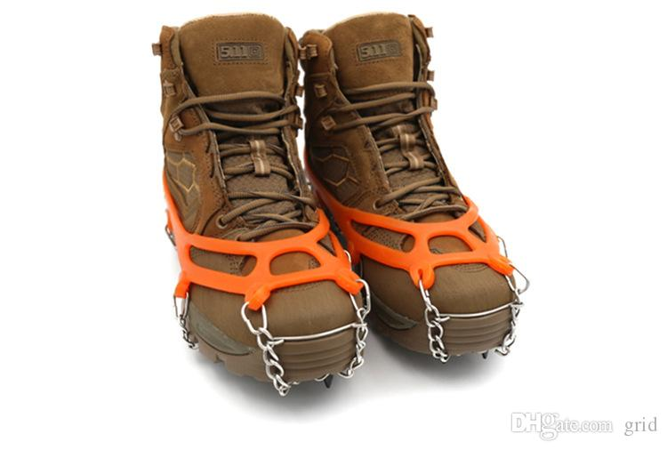 Anti Slip Crampon Ice Grips Snow Shoes Spikes Boots Cover Ice Gripper-Orange