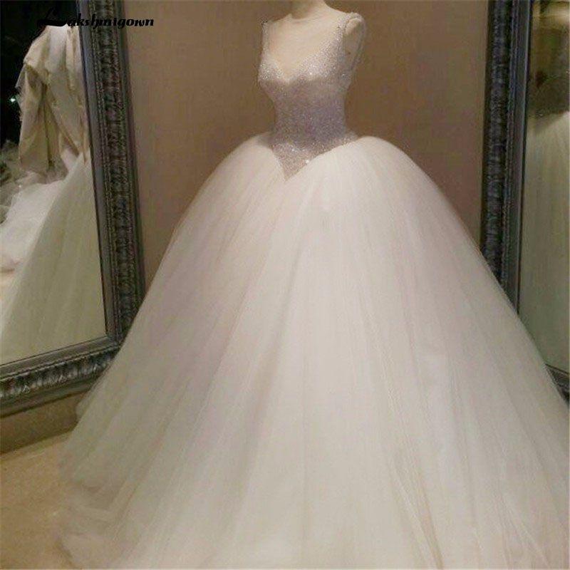 Vestidos de boda de lujo de los vestidos de bola vestido de novia glamour brillante con cuello en V sin mangas vestidos de boda de Tull mullidas blusa con cordones de abalorios